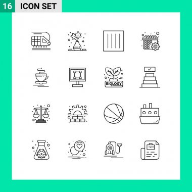 Stock Vector Icon Pack of 16 Line Signs and Symbols for cup, settings, clothing, schedule, calendar Editable Vector Design Elements icon