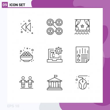 Stock Vector Icon Pack of 9 Line Signs and Symbols for coding, c, film, sweet, grocery Editable Vector Design Elements icon