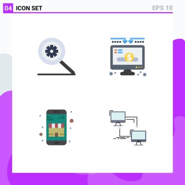 User Interface Pack of 4 Basic Flat Icons of control, online shop, charity, donate, local Editable Vector Design Elements icon