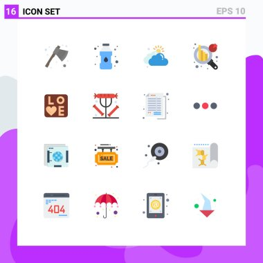 Stock Vector Icon Pack of 16 Line Signs and Symbols for wedding, love, cloudy, sign, data analytics Editable Pack of Creative Vector Design Elements icon