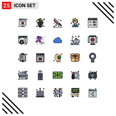 Stock Vector Icon Pack of 25 Line Signs and Symbols for settings, communication, halloween, woman, businesswoman Editable Vector Design Elements icon