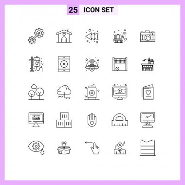 Stock Vector Icon Pack of 25 Line Signs and Symbols for drip, picture, arrow, camera, luggage Editable Vector Design Elements icon