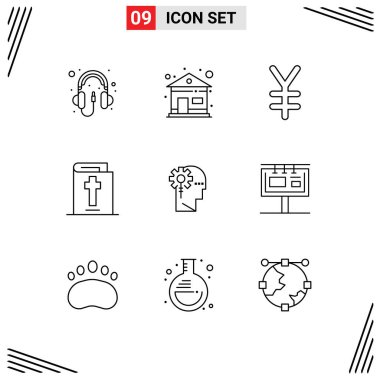 Modern Set of 9 Outlines Pictograph of processing, human, finance, critical, holiday Editable Vector Design Elements