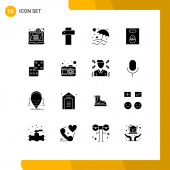 Modern Set of 16 Solid Glyphs Pictograph of camera, dice, umbrella, casino, gift Editable Vector Design Elements