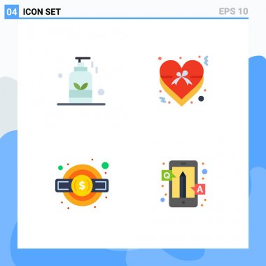 Editable Vector Line Pack of 4 Simple Flat Icons of beauty, gear, spa, insignia, tax Editable Vector Design Elements