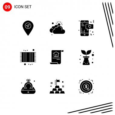 Stock Vector Icon Pack of 9 Line Signs and Symbols for document, shower, mobile, mat, bathroom Editable Vector Design Elements icon