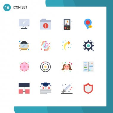 16 Creative Icons Modern Signs and Symbols of astronaut, map, electronics, location, play Editable Pack of Creative Vector Design Elements icon