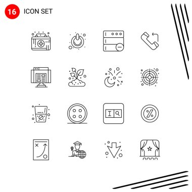 Stock Vector Icon Pack of 16 Line Signs and Symbols for data, application, switch, incoming, answer Editable Vector Design Elements icon