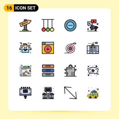 Stock Vector Icon Pack of 16 Line Signs and Symbols for friends, marketing, no, chat, video Editable Creative Vector Design Elements icon