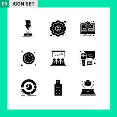 Stock Vector Icon Pack of 9 Line Signs and Symbols for user, presentation, gear, time, watch Editable Vector Design Elements icon