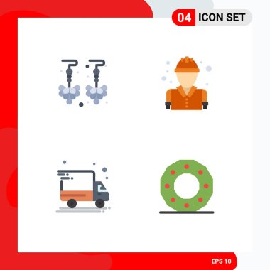 4 User Interface Flat Icon Pack of modern Signs and Symbols of drop, package delivery, fighter, fireman, christmas Editable Vector Design Elements icon