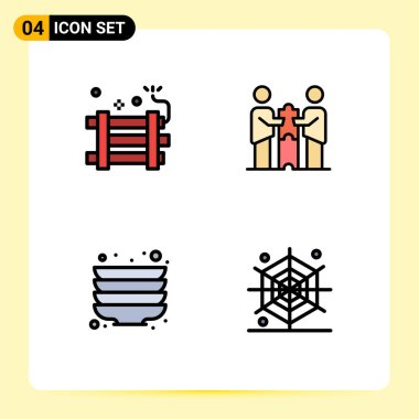 Stock Vector Icon Pack of 4 Line Signs and Symbols for bomb, partnership, firework, business, plate Editable Vector Design Elements icon