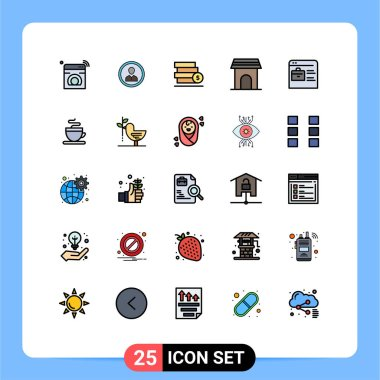 Stock Vector Icon Pack of 25 Line Signs and Symbols for appliance, save, people, dollar, money Editable Vector Design Elements icon