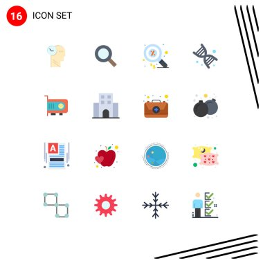 Universal Icon Symbols Group of 16 Modern Flat Colors of power, technology, duty, genetics, bio Editable Pack of Creative Vector Design Elements icon