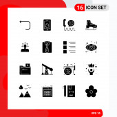 Fotografie 16 Universal Solid Glyph Signs Symbole von Skandinavien, Kanada, call, arctic, phone Editierbare Vektor-Designelemente