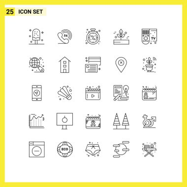 Group of 25 Modern Lines Set for rain, leaf, , agriculture, sale Editable Vector Design Elements