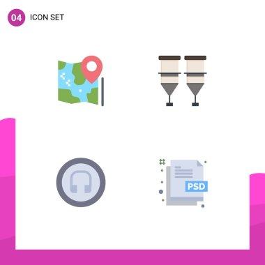 Flat Icon Pack of 4 Universal Symbols of map, transfusion, google, healthcare, headphone Editable Vector Design Elements icon