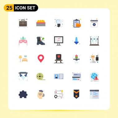 Stock Vector Icon Pack of 25 Line Signs and Symbols for online, folder, implanting, file, clipboard Editable Vector Design Elements icon