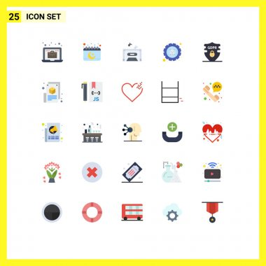 25 Flat Color concept for Websites Mobile and Apps gdpr, settings, music, hack, defect Editable Vector Design Elements