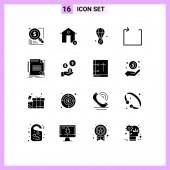 Fotografie Modernes Set von 16 festen Glyphen Piktograph der Übereinstimmung, Schleife, Nachlass, Pfeil, Bloon Editierbare Vektordesign-Elemente