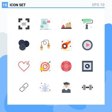 Set of 16 Modern UI Icons Symbols Signs for food, design, bath, creativity, brush Editable Pack of Creative Vector Design Elements icon