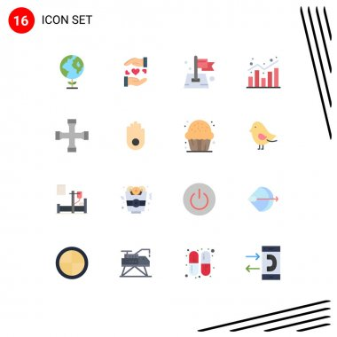 16 Creative Icons Modern Signs and Symbols of construction and tools, shopping, pin, report, analytics Editable Pack of Creative Vector Design Elements icon