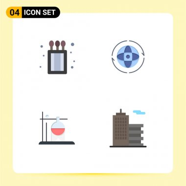 Pack of 4 Modern Flat Icons Signs and Symbols for Web Print Media such as camping, medical, globe, attom, transfusion Editable Vector Design Elements icon