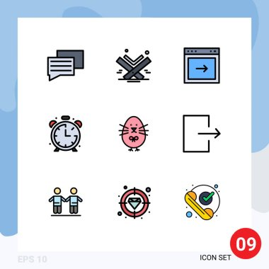 Stock Vector Icon Pack of 9 Line Signs and Symbols for easter, timer, arrow, education, alarm Editable Vector Design Elements icon