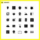 Fotografie Gruppe von 25 festen Glyphen Zeichen und Symbole für Schädel, Luxus, Schutz, Schleife, Schmuck Editierbare Vektor-Designelemente
