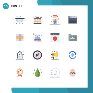 Universal Icon Symbols Group of 16 Modern Flat Colors of bell, ui, people, menu, usa Editable Pack of Creative Vector Design Elements icon