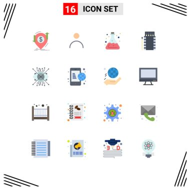 Universal Icon Symbols Group of 16 Modern Flat Colors of bonfire, camping, user, matches, acid Editable Pack of Creative Vector Design Elements icon
