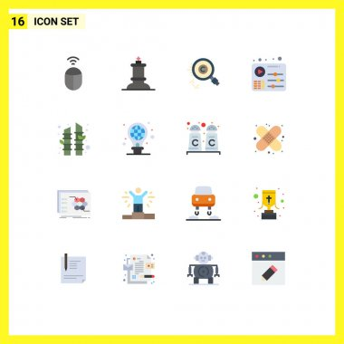 Set of 16 Modern UI Icons Symbols Signs for sauna, bamboo, find, play, equalizer Editable Pack of Creative Vector Design Elements icon