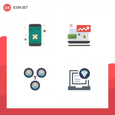 Stock Vector Icon Pack of 4 Line Signs and Symbols for close, friends, app, investment, app Editable Vector Design Elements icon