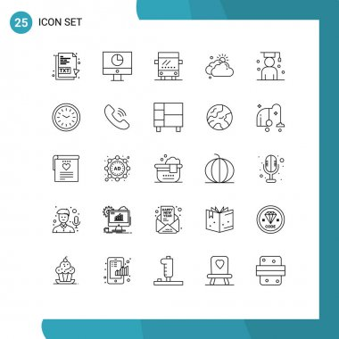 Stock Vector Icon Pack of 25 Line Signs and Symbols for graduate, sun, payments, day, cloud Editable Vector Design Elements icon