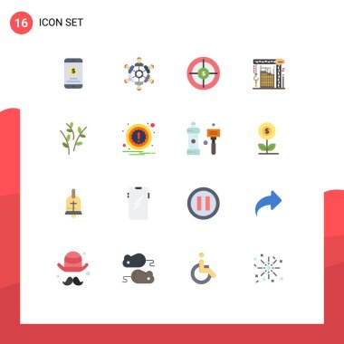 Set of 16 Modern UI Icons Symbols Signs for interior, crane, playing, building, marketing Editable Pack of Creative Vector Design Elements icon