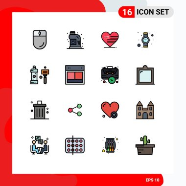 16 Universal Flat Color Filled Line Signs Symbols of cleaning, bath, heart, watch, hand watch Editable Creative Vector Design Elements