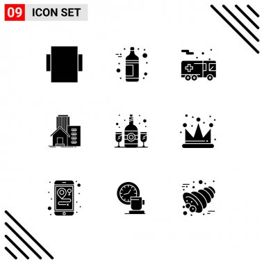 9 User Interface Solid Glyph Pack of modern Signs and Symbols of drink, glass, transportation, bottle, appartment Editable Vector Design Elements