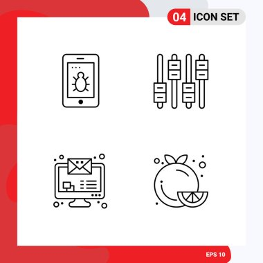 Stock Vector Icon Pack of 4 Line Signs and Symbols for mobile, monitor email, equalizer, volume, food Editable Vector Design Elements icon