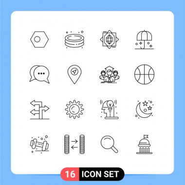 Stock Vector Icon Pack of 16 Line Signs and Symbols for chat, safety, garden, rain, insurance Editable Vector Design Elements icon