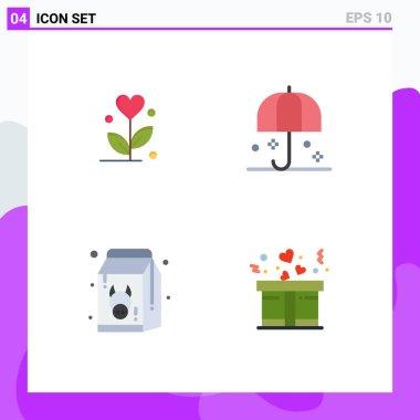 Flat Icon Pack of 4 Universal Symbols of love, diet, heart, rain, fresh Editable Vector Design Elements icon