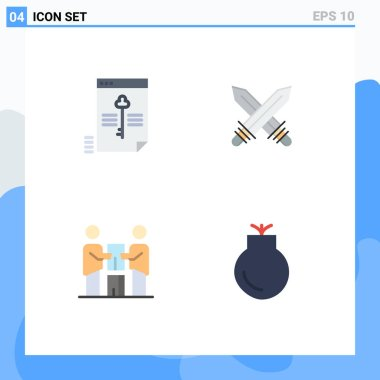 Pack of 4 creative Flat Icons of file, business, key, fencing, partners Editable Vector Design Elements icon