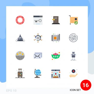 Set of 16 Modern UI Icons Symbols Signs for hardware, connected, emergency, computers, exit Editable Pack of Creative Vector Design Elements icon