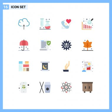 16 Creative Icons Modern Signs and Symbols of rain, insurance, telephone, data analysis, valentine Editable Pack of Creative Vector Design Elements icon