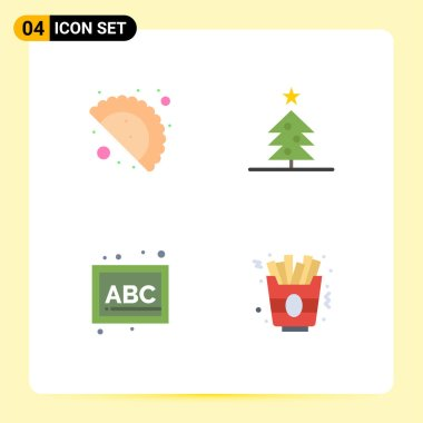 4 Universal Flat Icons Set for Web and Mobile Applications food, school, tree, abc, food Editable Vector Design Elements