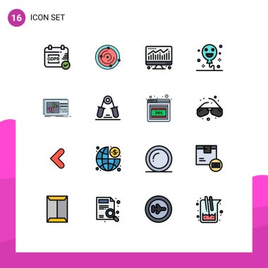 Stock Vector Icon Pack of 16 Line Signs and Symbols for studio, equalization, chart, equalizer, holiday Editable Creative Vector Design Elements icon