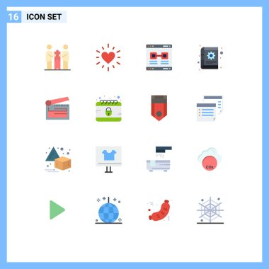 Set of 16 Modern UI Icons Symbols Signs for action, gear, internet, content, window Editable Pack of Creative Vector Design Elements icon