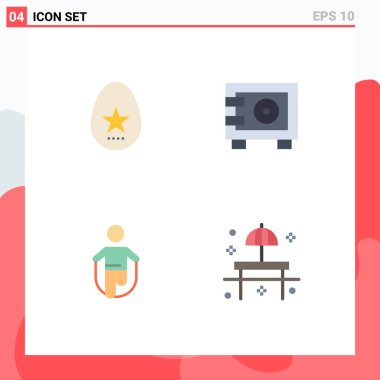 Flat Icon Pack of 4 Universal Symbols of egg, jump, spring, safe, rope Editable Vector Design Elements icon