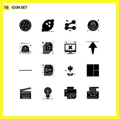 Editable Vector Line Pack of 16 Simple Solid Glyphs of camp, iot, dumbbell, internet of things, plug Editable Vector Design Elements