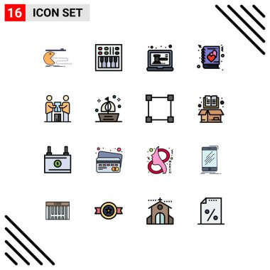 Stock Vector Icon Pack of 16 Line Signs and Symbols for story, love, speaker, book, online Editable Creative Vector Design Elements icon