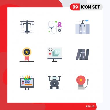 Modern Set of 9 Flat Colors and symbols such as coding, stamp, emergency, ribbon, badges Editable Vector Design Elements
